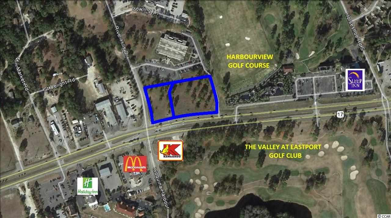 Subject property is a 2.25 acre corner comprised of 2 parcels at the signalized intersection of Highway 17 and River Hills Drive.   These parcels offer 400'+/- frontage on Highway 17 with existing ingress points on River Hills Drive and at the River Hills Medical Plaza.  Zoned HC by Horry County.  Highway 17 is the main traffic artery in Little River with 42,000 vehicles per day.