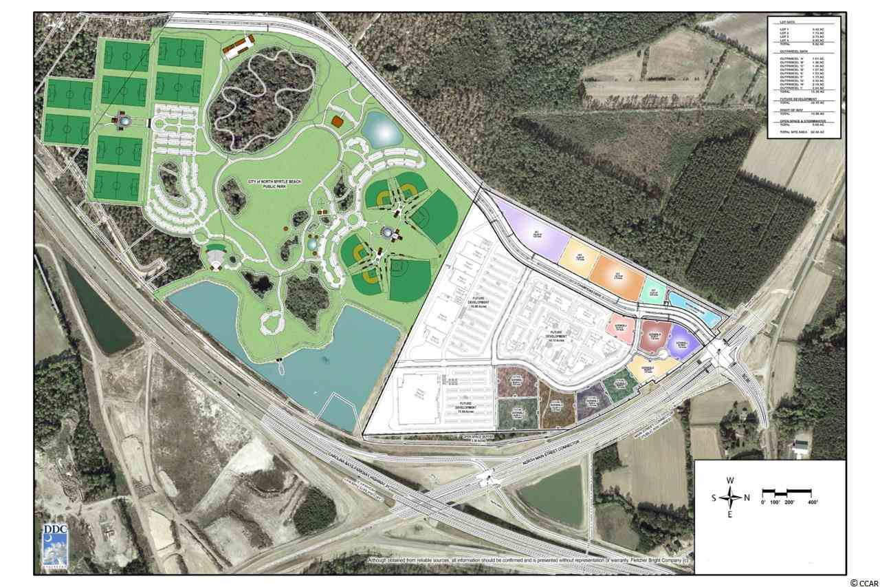 Development opportunity. This planned district development site consists of +/-56.8 acres and is located at the southwest corner of Carolina Bays Parkway (Highway 31) and the Main Street Connector (Robert Edge Parkway). Site is located at gateway of the North Myrtle Beach Park & Sports Complex which opened in 2014. Champion Drive will be extended to Long Bay Road and serve the hundreds of new homes and apartments in the area. All entitlement documents are available for review. Pricing available developed pad sites for individual restaurant/retail, and lodging out-parcels from 1 to 3.5 acres.