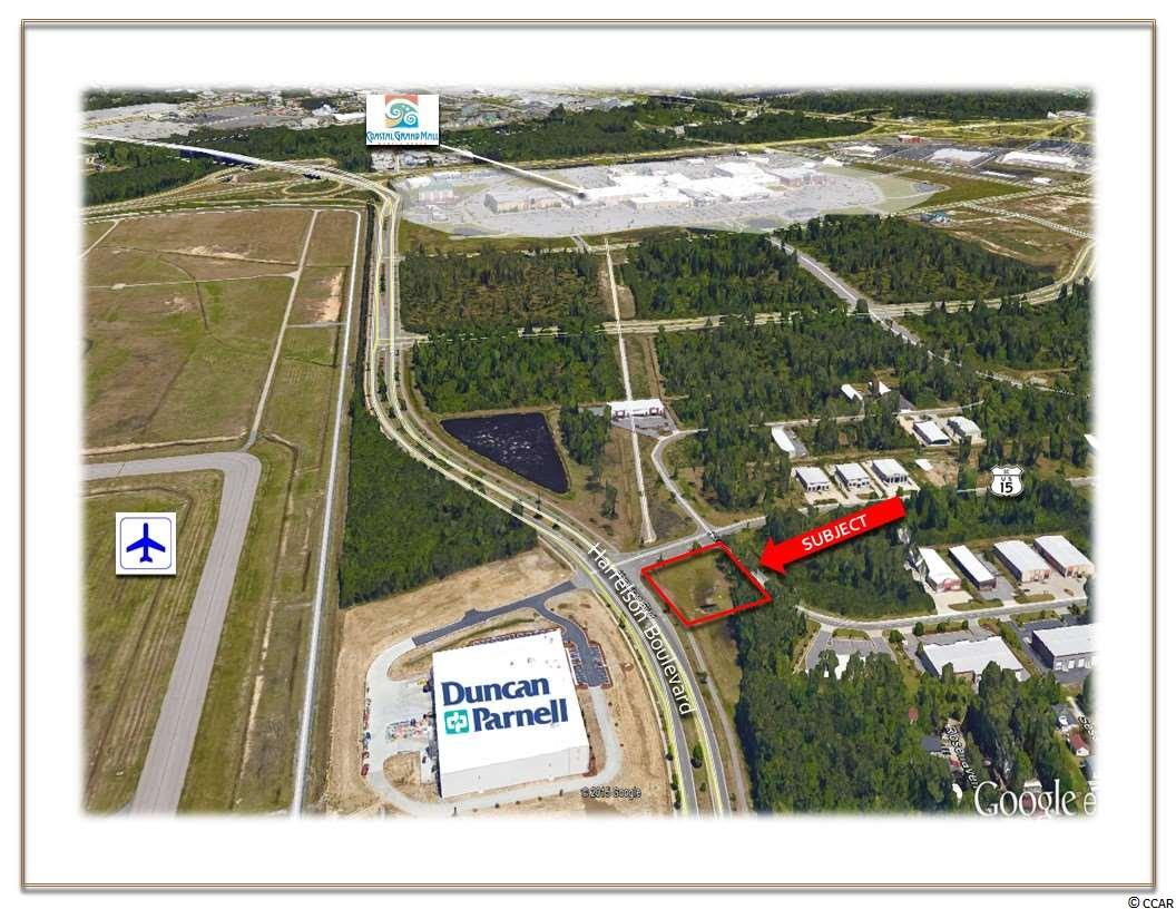 OFFERED FOR LEASE this 0.94 Acre Tract which has frontage on both Harrelson Boulevard and American Way. This property is in close proximity to the Coastal Grand Mall, a 1.1 million-square-foot regional mall, Myrtle Beach International Airport (Harrelson Boulevard), Highway 17 Bypass and, Highway 501.    GENERAL SITE INFORMATION: Approximately 0.94 +/- Acres  Identified as: TMS #180-34-01-019, PIN #44204040012, County of Horry, SC. Approximately 200' Feet of Frontage on Harrelson Boulevard  Approximately 144' Feet of Frontage on American Way  Conveniently located Near Myrtle Beach International Airport, and Major Traffic Arteries Covenants and Restriction are in Place to Assure Integrity of the Park