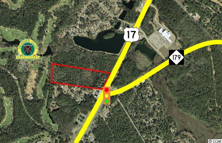 Subject property is a 16 acre tract located at the signalized intersection of Highway 17 and Graystone Boulevard/Highway 179 in Little River.   This property is split-zoned Highway Commercial(HC) and Commercial Forest Agriculture(CFA) by Horry County, and offers approximately 510' frontage on Highway 17.  Subject property backs up to and offers approximately 525' frontage on Heather Glen Golf Course.  Highway 17 offers a traffic count of 19,000 vehicles per day.  Highway 179 serves as the main traffic artery feeding the immediately-neighboring towns of Calabash and Carolina Shores. The immediately adjacent 400 acre property is being planned and developed by DRHorton as a 1000 plus unit subdivision.