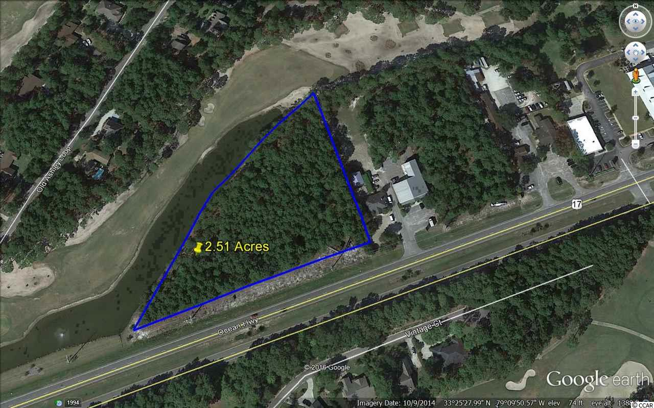 Prime Land For Sale in Pawleys Island.  The property is 2.52 acres with 431' of direct road frontage on Ocean Hwy. The rear of the property borders The Founder's Golf Course. Land is zoned PUD, an excellent location for office, retail, medical, restaurant or car dealership. Some Owner financing is available for qualified Buyer.  The surrounding area host car dealerships, retail shops, professional offices, restaurant and large residential communities.