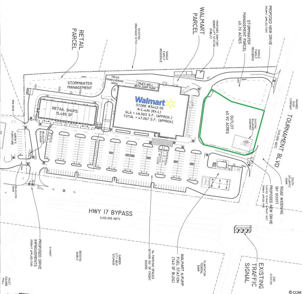 Available for ground lease or build to suit:  0.9 acre outlot at Tournament Crossing Shopping Center anchored by Walmart Neighborhood Market.  Utilities to site and off-site stormwater detention in place.  Other tenants in the shopping center include Dickey's Barbecue, Tropical Smoothie Cafe, Coastal Dental, Great Clips, etc.  Prime location at the signalized intersection of Hwy 17 Bypass and Tournament Blvd.  Strong demographics show an affluent population base and a significant tourist population.  Permanent population within a 5 mile radius is approx. 59,772 and growing.