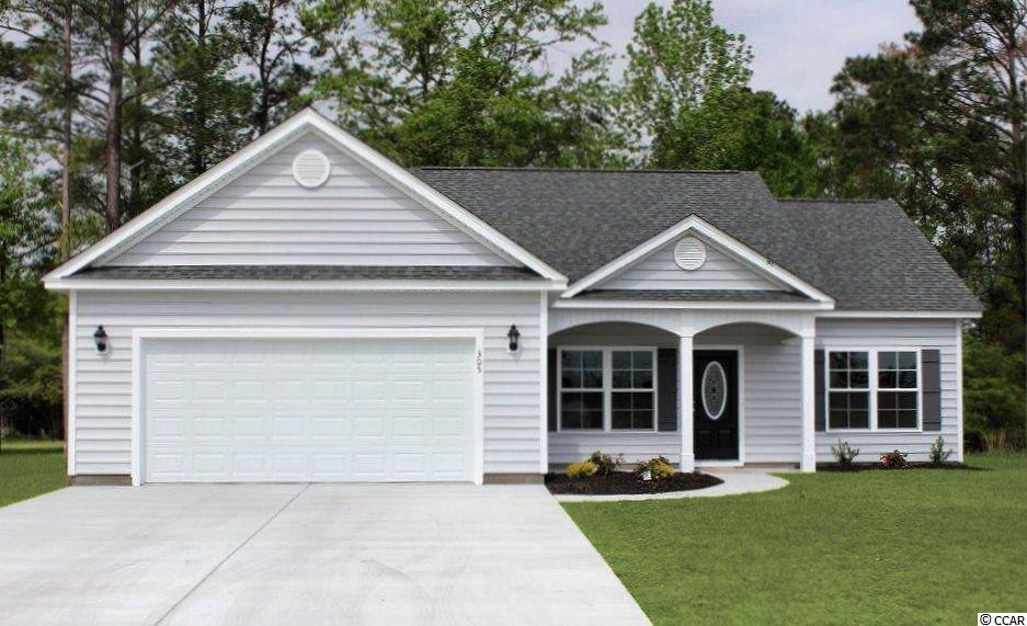 4 bedroom Pecan 4 floor plan, relaxing front porch, rear 6' x 23' screen porch and patio. Open floor plan, living room has vaulted ceiling, ceiling fan, dining area, large kitchen has lots of solid wood cabinets with crown molding, breakfast counter, stainless steel appliances - microwave, smooth top stove, and dishwasher. Split bedrooms - Master suite has tray ceiling with ceiling fan, two walk-in closets, 2 separate sinks in raised height vanities, garden tub plus separate walk-in shower, large window to let the light in. Guest bedrooms and bath on opposite side of the house. Spacious finished/painted 2-car garage, with automatic door opener, pull down stairs to attic storage above. Irrigation system, gutters, mailbox, sodded and landscaped yard. Community pool. Award winning local builder. Aynor Schools. Less than 1 mile to Hwy 22, within 30 minutes of Myrtle Beach. Photo's are for illustrative purposes only and may be of a similar home built elsewhere. Square footage is approximate and not guaranteed. Buyer is responsible for verification.
