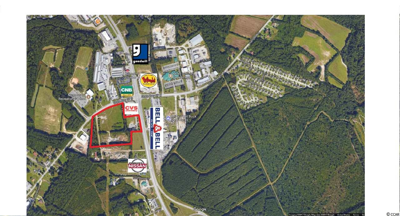 One of a kind tract in the area. 13+- Acres with unlimited potential. Apx 335' of frontage on Hwy 9 and Apx 570' of frontage on 57. Perfect for retail, big box, restaurant, medical, hotel, car dealership, convenience, etc.! Great opportunity.