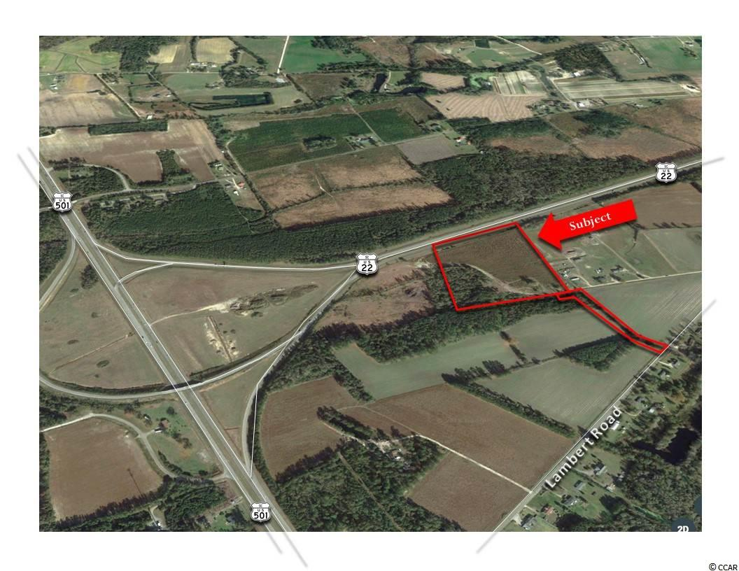 OFFERED FOR SALE Approximately 15.5 Acres located at the terminus of U.S. Highway 22 and U.S. Highway 501.  Tract is also accessible via Lambert Road. This site offers great exposure as well as excellent visibility.   GENERAL SITE INFORMATION: Approximately 15.5+/- Acres, (See Survey) Approximately 645' +/- of Frontage along US Highway 22 Approximately 50' +/- Private Access via Lambert Road Identified as: PIN #27900000023 & PIN #29101010003, County of Horry, SC. Zoned: Highway Commercial, (HC), County of Horry, SC  Can be Subdivided into Three (3) Parcels: