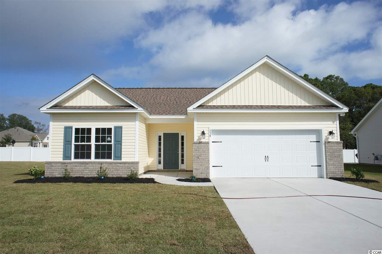 Beautiful Fripp floor plan to be built in the new Ocean Palms community, with a five month build time from contract to close. Purchase early and choose all of your own colors! This terrific open floor plan, 3 bedroom, 2 full bath home has upgraded vinyl wood-look flooring in the family room, kitchen and dining area, under the soaring vaulted ceiling, and comfortable carpet in the bedrooms. Stainless appliances, granite counters, staggered-height stained birch cabinetry and a convenient breakfast bar combine to give you the wow factor you're looking for, and abundant recessed lighting plus two large windows in the adjacent dining area flood the room with light. A French door at the back wall of the family room leads to the covered rear porch and the large separate patio beyond. The spacious master retreat features a long vanity with a granite counter and double sinks, an oversized walk-in shower, plenty of storage in the linen closet and a huge walk-in closet. Two additional bedrooms and a full bath with a granite vanity countertop are tucked off on their own hallway, for privacy. All of the homes in Ocean Palms come standard with the luxury of natural gas (tankless water heater, gas heat, and gas range). The two car garage is completely trimmed and painted, and a floored attic storage space is accessed by drop-down stairs.  Ocean Palms is conveniently located near shopping, restaurants, schools and world class medical offices and hospitals, and only a short golf cart ride to Surfside Beach's gorgeous beach and the beautiful Atlantic Ocean. Other floor plans and inventory homes may be available, and CUSTOMIZATION OF FLOOR PLANS IS POSSIBLE!!! Community Pool and Cabana Coming Soon! Photos are of a completed, similar home in another neighborhood and may have different features.