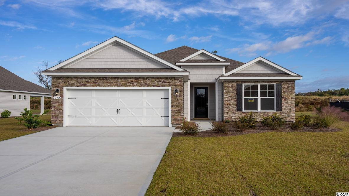 """Inlet Reserve is the place you want to call home! This is a natural gas community featuring 69 spacious homesites with private and pond views, conveniently tucked away in the heart of Murrells Inlet , yet just a short drive to championship golf courses, marinas, shopping, hospitals, beaches and the Marsh Walk where you'll find year round entertainment and award winning restaurants with spectacular views of the salt marsh and wild life.  If you are looking to downsize, upsize, or to add a pool and create your own outdoor living space, Inlet Reserve has the homesite and home for you.  We offer a mix of 1 story and 2 story thoughtfully designed open living floor plans, perfect for entertaining family and friends. The popular Eaton floor plan offers a very comfortable open feel and designed for entertaining. Lots of windows creating an abundance of natural light! This is a 1 story home with a stacked stone elevation on the front, 3 bedrooms, 2 bathrooms, 10' ceilings, crown molding, 5 1/4"""" baseboard, trimmed out windows and 8ft. entry door.This home features a large kitchen area (a chef's delight) that offers tons of counter and cabinet space with 36"""" staggered height cabinets , granite countertops which includes a large gourmet island overlooking the family room, walk-in pantry, tile back splash, pendant lights and stainless steel appliances. This open floor plan is perfect for entertaining friends and family. Wood floors throughout the main living area. Owners suite and bath offers a tray ceiling,walk-in closet, 5 ft. walk-in shower, double vanities and bowls. Split floor plan with 2 nice size guest rooms with a vaulted ceiling in BR 2. 8FT Sliding doors off the family room lead to a 9' x 26' covered porch and private pond view. Extended Garage! Tasteful interior touches run throughout the house to finish off this must see home. New Community in popular St. James school district. Pictures are of a previous built home and model and are for representation purposes only."""