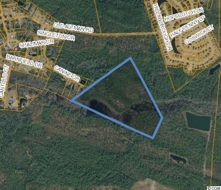 Approximate 61 ACRES For Sale off of Highway 90 and Canine Drive in Conway, SC. Tract is currently zoned Commercial Forest/Agricultural (CFA) allowing for numerous commercial and residential uses.  Water is available to the site.