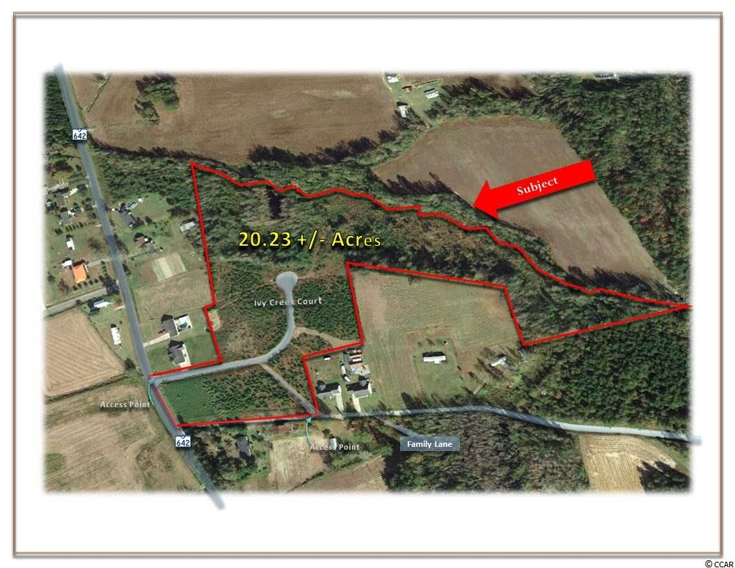 OFFERED FOR SALE is this 20.23 +/- Acre Tract. Land Planned to accommodate 31 Single Family homes. Water is to be supplied by Bucksport Water System and Sewer is to be septic. With easy access to Highway 501 and within minutes of downtown Conway.  GENERAL SITE INFORMATION: Approximately 20.23  +/- Acres Approximately 425 Feet of Frontage on Family Lane Approximately 225 Feet of Frontage on Lundy Short Cut Road (Highway 642)  NEIGHBORHOOD: Conway is family-oriented small town with a nice historic district. In close proximity to Conway Medical Hospital, Coastal Carolina University, Webster University, Entertainment, Restaurants, Retail Shops, and a variety of local events. Access points on State Highway 642 and Family Lane Approximately 3 Miles to Highway 501 & Highway 22 Approximately 8-10 Miles to Conway Elementary, Middle & High Schools Approximately 10 Miles to Aynor, SC. Approximately 14 Miles to Coastal Carolina University Approximately 16 Miles to Conway Medical Center  ZONING:  Residential District (SF10), County of Horry, SC.