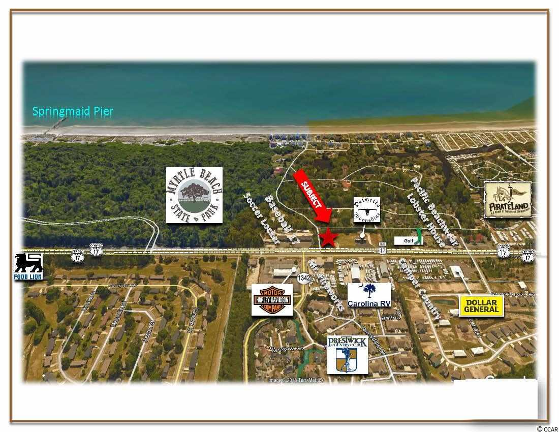 FOR LEASE 1.35 Acres located along U.S. Highway 17 in close proximity to Prestwick Country Club, Myrtle Beach Harley Davidson Motorcycles, Pirate Land Camping Resort, Ocean Lakes Campground, Myrtle Beach State Park and just south of the Market Commons. This site offers great exposure wit high traffic count, as well as excellent visibility.   GENERAL SITE INFORMATION Approximately 1.35+/- Acres, (58,806 Square Feet) Approximately 200' of Road Frontage on U.S. Highway 17 Approximately 250' of Depth Average Daily Traffic Count: 27,000 Highway 17 (Source: SCDOT 2017) Highway Commercial (HC), City of Myrtle Beach, SC.  ZONING:  Highway Commercial (HC), City of Myrtle Beach, SC.