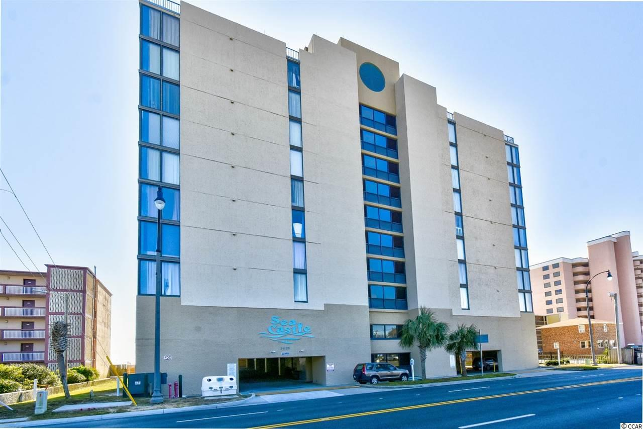 Welcome home to this fully furnished, 3 bedroom, 2 bathroom condo with an ocean view in the Sea Castle Resort. This unit features a full kitchen equipped with all appliances, all new flooring thoroughout the entire unit, new counters and cabinets in 2015, stainless steel appliances except for the fridge, with a breakfast bar and a dining area that seats 6. The living room offers two reclining leather loveseats and access to your balcony  overlooking the ocean! Each bedroom includes plenty of living and closet space, with easy access to a bathroom, while the master features a walk in shower with a seat. Several closets for extra storage, and a washer/dryer included with sale for added convenience. Sea Castle offers an outdoor pool, picnic and grilling areas, and is centrally located near all of the Grand Strand's finest dining, shopping, golf, and entertainment attractions. Whether you are looking for your forever home, a second home at the beach, or your next investment opportunity, you won't want to miss this. Schedule your showing today!