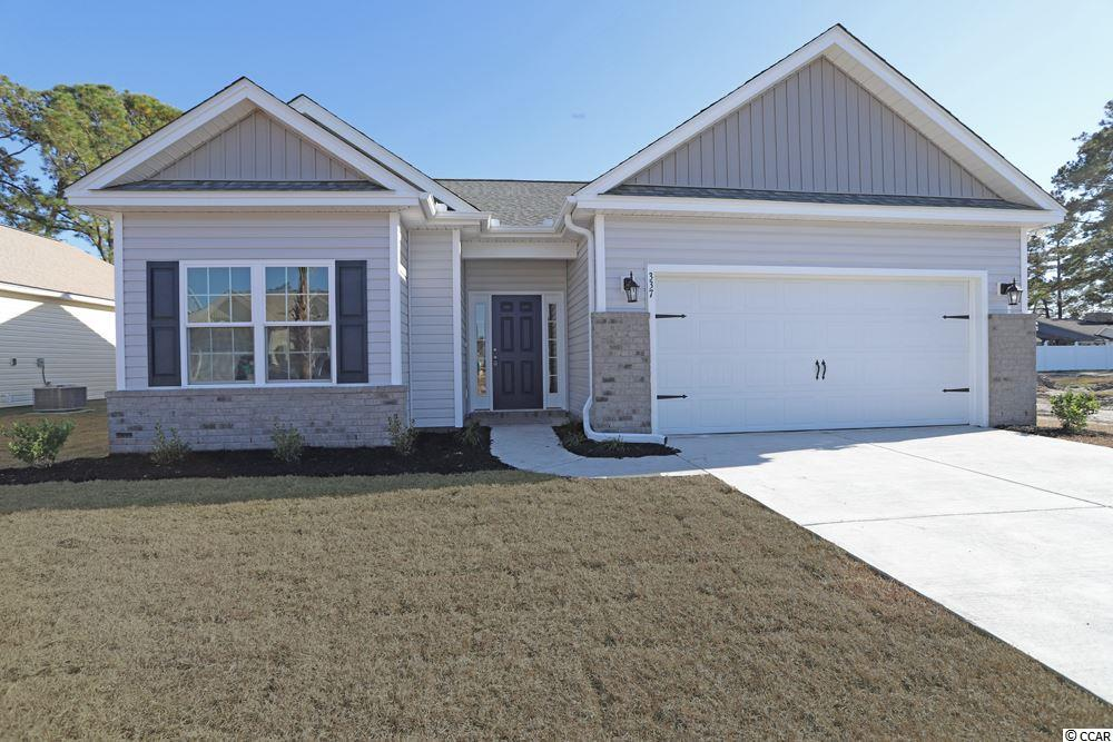 Beautiful Hatteras floor plan to be built in the new Ocean Palms community, with a five month build time from contract to close. Purchase early and choose all of your own colors! This terrific open floor plan, 3 bedroom, 2 full bath home will come standard with waterproof laminate flooring in the family room, kitchen and dining area, under the soaring vaulted ceiling, and comfortable carpet in the bedrooms. Stainless appliances, quartz counters, staggered-height stained birch cabinetry and a convenient breakfast bar combine to give you the wow factor you're looking for, and abundant recessed lighting plus two large windows in the adjacent dining area flood the room with light. A French door in the great room leads to the covered rear porch and the large separate patio beyond. The spacious master retreat features a long vanity, an oversized walk-in shower, plenty of storage in the linen closet and a huge walk-in closet, plus a tray ceiling. Two additional bedrooms and a full bath are tucked off on their own hallway, for privacy. All of the homes in Ocean Palms come standard with the luxury of natural gas (tankless water heater, gas heat, and gas range). The two car garage is completely trimmed and painted, and a floored attic storage space is accessed by drop-down stairs. Ocean Palms is conveniently located near shopping, restaurants, schools and world class medical offices and hospitals, and only a short golf cart ride to Surfside Beach's gorgeous beach and the beautiful Atlantic Ocean. Other floor plans and inventory homes may be available, and CUSTOMIZATION OF FLOOR PLANS IS POSSIBLE!!! Community Pool and Cabana Coming Soon! Photos are of a completed, similar home and may have different features.