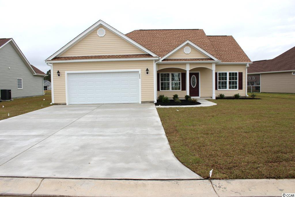 Oak Grove is a new small community just off Hwy 378 in Conway. Large 1/2 acre lots. No HOA Fee. This Pecan house plan has a low country covered front porch and rear screened porch. The living room is open and has a vaulted ceiling with a breakfast counter/bar loaded with space and storage plus a pantry. Dining area is open to the kitchen and family room. Master bedroom suite has tray ceiling with ceiling fan, 2 walk-in closets, double sinks, raised height vanity, garden tub and a separate walk-in shower. Rannai tankless water heater. Natural gas. Our homes are built with a minimum 9' smooth ceilings, 30 year architectural roof shingles, sodded yard includes irrigation system, fully finished and painted garages with automatic door opener and pull down stairs to attic storage plus gutters. Can park your RV or Boat at your house. Just 30 minutes away from Myrtle Beach and all the fun, food and entertainment you expect. Photos and video are for illustrative purposes only and may be of similar house built elsewhere. Square footage is approximate and not guaranteed. Buyer is responsible for verification.