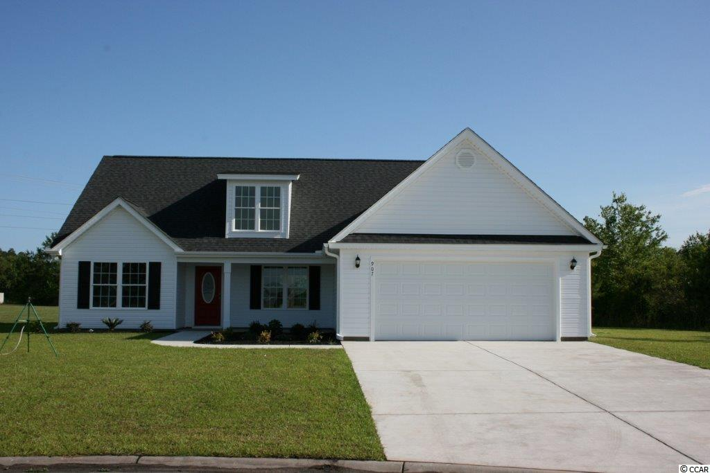 Oak Grove is a new small community just off Hwy 378 in Conway. Large 1/2 acre lots. No HOA fee. This great Woodland floor plan has a low country covered 16'8x6'  front porch, large living room has vaulted ceiling with fan/light, dining area, open floor plan. Kitchen has custom built wood cabinets with knobs and crown molding, stainless steel appliances including a gas range, breakfast counter/bar, and pantry. 17'x12' Master bedroom suite has tray ceiling, ceiling fan, 2 walk-in closets, double sinks raised height vanity, and a walk-in shower. Spacious guest bedrooms. Rannai tankless water heater. Natural gas. Our homes are built with a minimum 9' smooth ceilings, 30 year architectural roof shingles, sodded yard includes irrigation system, fully finished and painted garages with automatic door opener and pull down stairs to attic storage plus gutters. Can park your RV or Boat at your house. Natural gas available. Just 30 minutes away from Myrtle Beach and all the fun, food and entertainment you expect. Photos and video are for illustrative purposes only and may be of similar house built elsewhere. Square footage is approximate and not guaranteed. Buyer is responsible for verification.