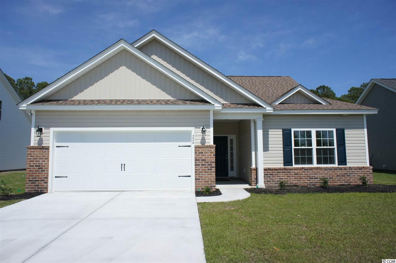 Beautiful Topsail floor plan to be built in the new Ocean Palms community, with a five month build time from contract to close. Purchase early and choose all of your own colors! This terrific open floor plan, 3 bedroom, 2 full bath home will come standard with vinyl flooring in the family room, kitchen and dining area, under the soaring vaulted ceiling, and comfortable carpet in the bedrooms. Stainless appliances, staggered-height stained birch cabinetry and a convenient breakfast bar combine to give you the wow factor you're looking for, and abundant recessed lighting plus two large windows in the adjacent dining area flood the room with light. A French door in the dining room leads to the covered rear porch and the large separate patio beyond. The spacious master retreat features a long vanity, an oversized walk-in shower, plenty of storage in the linen closet and a huge walk-in closet, plus a tray ceiling. Two additional bedrooms and a full bath are tucked off on their own hallway, for privacy. All of the homes in Ocean Palms come standard with the luxury of natural gas (tankless water heater, gas heat, and gas range). The two car garage is completely trimmed and painted, and a floored attic storage space is accessed by drop-down stairs. Ocean Palms is conveniently located near shopping, restaurants, schools and world class medical offices and hospitals, and only a short golf cart ride to Surfside Beach's gorgeous beach and the beautiful Atlantic Ocean. Other floor plans and inventory homes may be available, and CUSTOMIZATION OF FLOOR PLANS IS POSSIBLE!!! Community Pool and Cabana Coming Soon! Photos are of a completed, similar home and may have different features.
