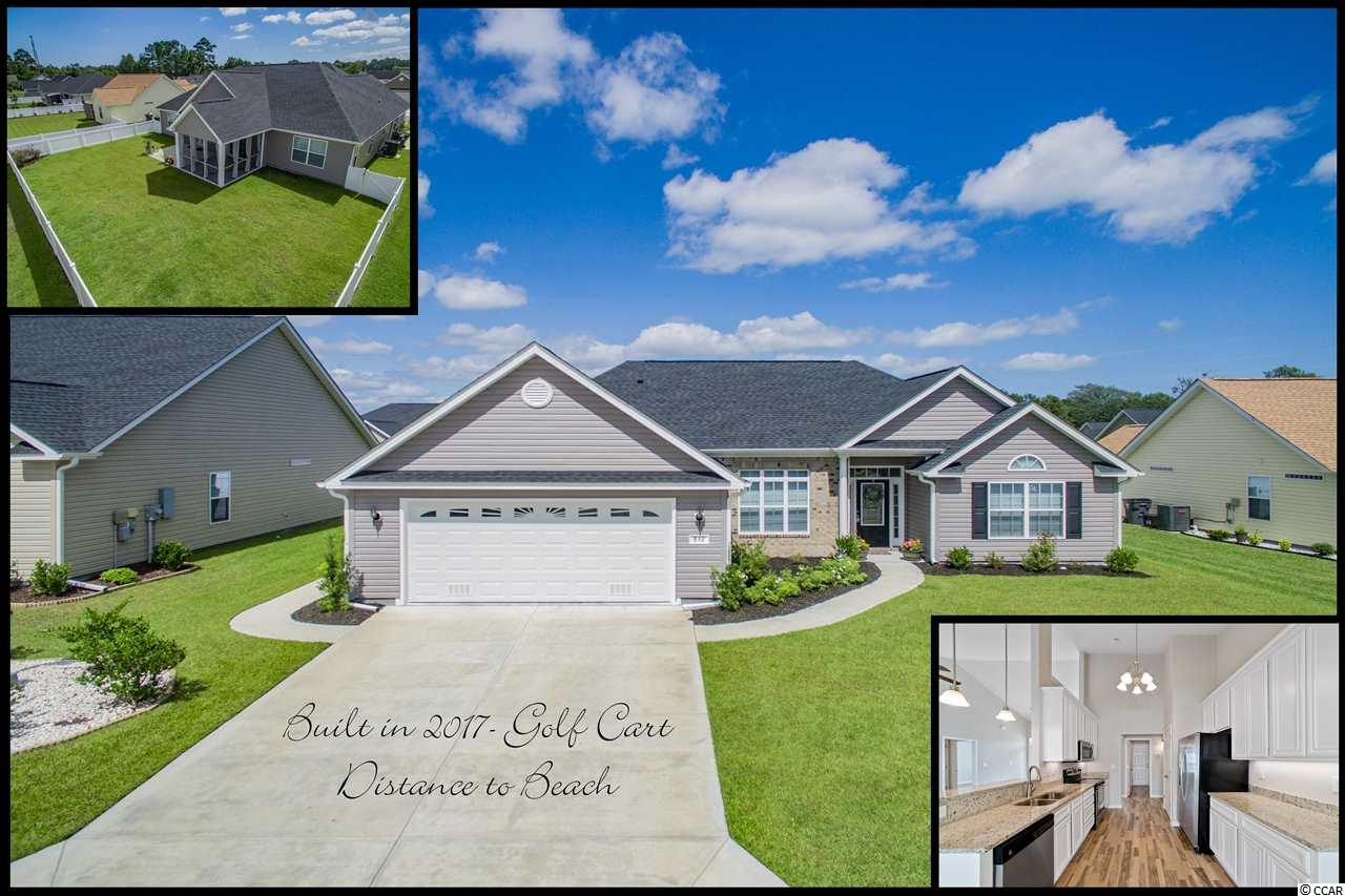 """DON'T be fashionably late for this one!  This 2 year young home takes center stage! Built in 2017 in the new section of Mallard Landing Village-it's a quick golf cart ride to the beach, shopping and fun. Bells and whistles include 12x12 Screened porch, Bathrooms with Tall Vanities and Granite Tops, Front Door with Glass, upgraded 42"""" Kitchen Cabinets w/Granite & Stainless Appliances, low maintenance flooring in Warm Driftwood Vinyl throughout, 2' Bumpout in Great Room and Breakfast Room, extra insulation on inside Bedroom walls & Solid Core Doors in Bedrooms & Baths for sound proofing, French Door to Patio and Slider to Screened Porch, Garage w/Utility Sink & Side Door, Vinyl Fenced Backyard...the list goes on and on! Run, don't walk, before this one gets away!"""