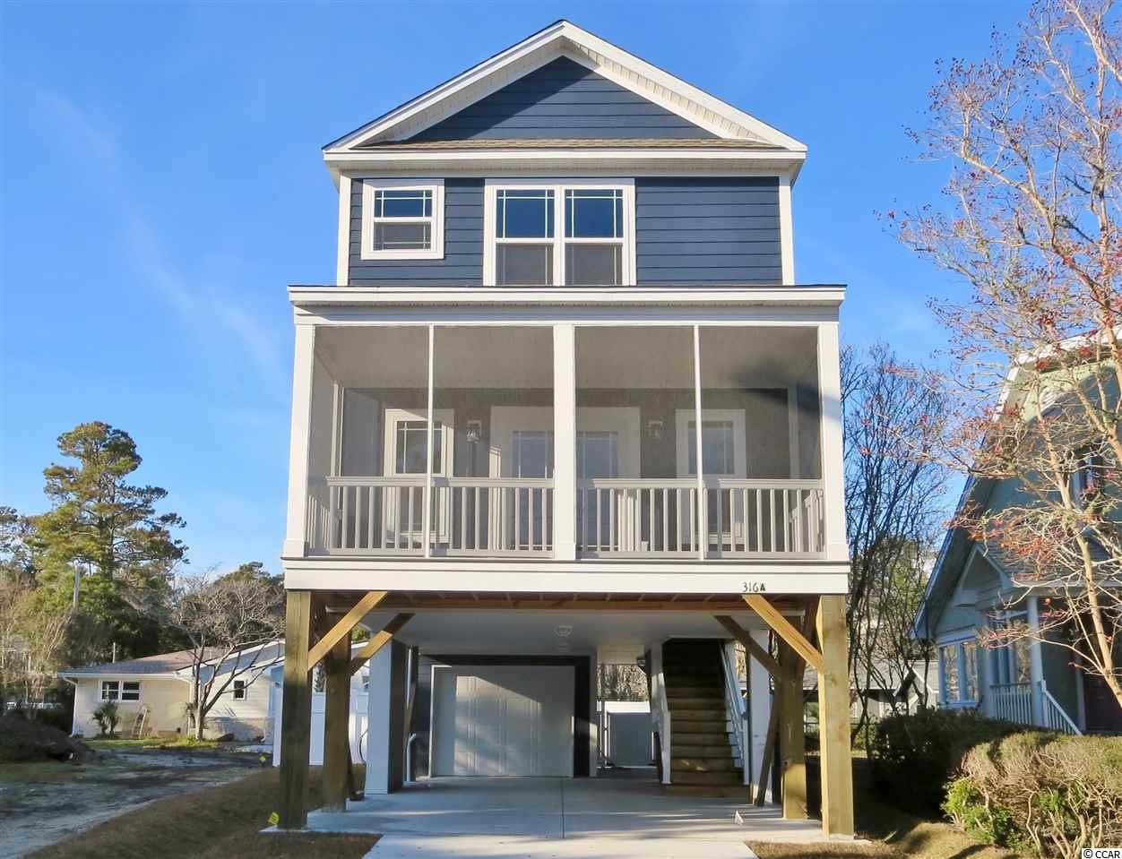 316A Lakeside Drive is a four-bedroom, 3.5 bathroom, 1705 heated square foot raised beach house approximately 900 feet to the beach in the Town of Surfside Beach. The exterior of the home is covered in Color Plus James Hardie concrete fiber siding, porch is Trex composite decking, there is parking for four cars including an 18x11 garage, outdoor hot and cold enclosed shower, six-foot vinyl privacy fence around a private pool with concrete paver decking. This brand-new home has an open concept on the main floor, accommodating a bedroom, full and half bathrooms, kitchen, and living room with direct access to the covered front porch. The custom kitchen will have granite countertops, stainless steel appliances including a refrigerator and a large island with seating for six people. Upstairs there are three additional bedrooms, two full bathrooms, and the laundry room. The master suite has a private bathroom with two sinks and a garden tub, along with a walk-in closet. The home is scheduled for a December 1, completion but can be finished sooner. There is currently an opportunity for the buyer to make color selections. Home is located in R3 zoning, allowing short term vacation rentals.