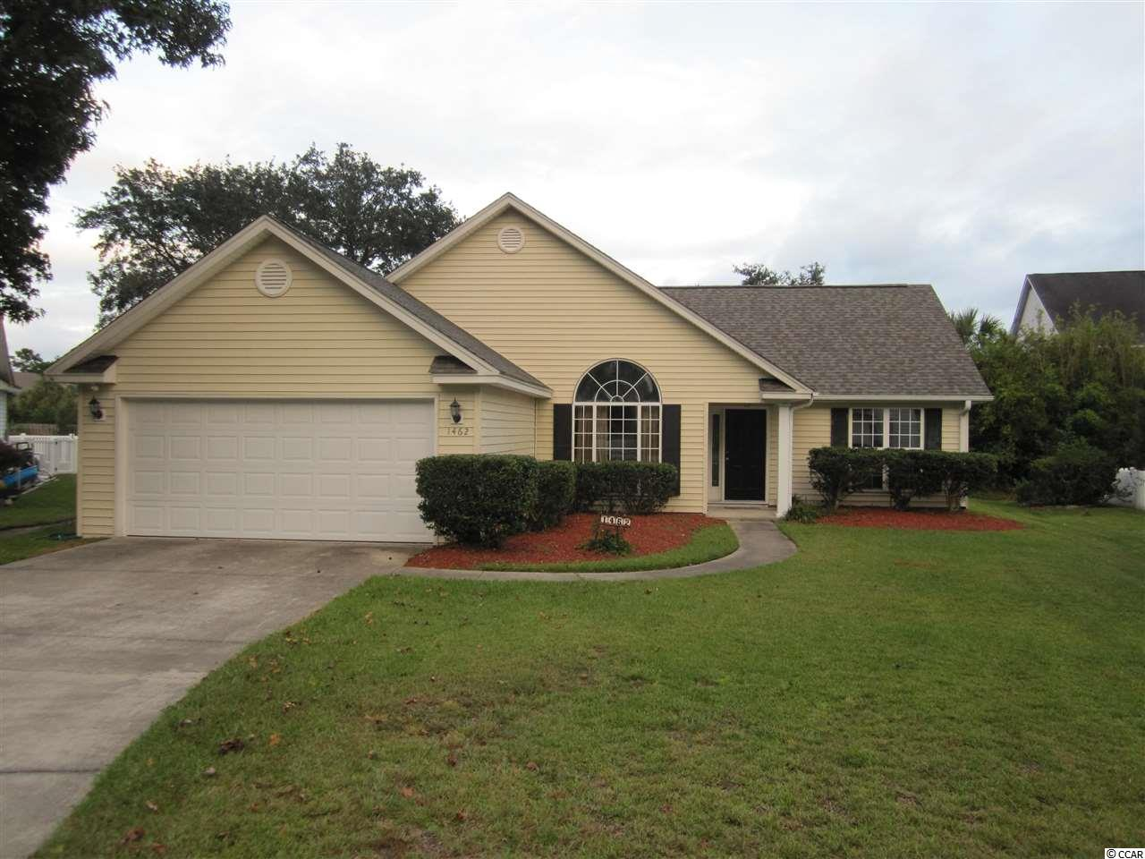 Excellent opportunity to make this very nice spacious 3 bedroom, 2 full bathroom home your very own!  Located in the popular and well established Ashton Glenn neighborhood in the Surfside Beach area.  Features include vaulted ceilings in dining room, living room, kitchen and master bedroom, split bedroom floor plan, eat-in kitchen with beautiful bay window, two-car attached garage, and fenced back yard with patio!  Master bedroom suite includes large walk-in closet and master bathroom with separate tub and tile shower.  Located on quiet cul-de-sac and less than 2 mile golf cart ride to the beach!  New roof in 2019!  Community pool and cabana overlook beautiful natural lake!  Ashton Glenn is centrally located and convenient to beach, restaurants, shopping, golf and medical facilities.  Make sure to make an appointment to view this home soon!  Square footage is approximate and not guaranteed.  Buyer is responsible for verification.