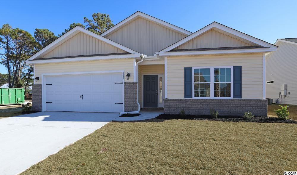 Beautiful Topsail floor plan in the new Ocean Palms community. Purchase early and choose all of your own colors! This terrific open floor plan, 3 bedroom, 2 full bath home will come standard with vinyl flooring in the family room, kitchen and dining area, under the soaring vaulted ceiling, and comfortable carpet in the bedrooms. Stainless appliances, staggered-height stained birch cabinetry and a convenient breakfast bar combine to give you the wow factor you're looking for, and abundant recessed lighting plus two large windows in the adjacent dining area flood the room with light. A French door in the dining room leads to the covered rear porch and the large separate patio beyond. The spacious master retreat features a long vanity, an oversized walk-in shower, plenty of storage in the linen closet and a huge walk-in closet, plus a tray ceiling. Two additional bedrooms and a full bath are tucked off on their own hallway, for privacy. All of the homes in Ocean Palms come standard with the luxury of natural gas (tankless water heater, gas heat, and gas range). The two car garage is completely trimmed and painted, and a floored attic storage space is accessed by drop-down stairs. Ocean Palms is conveniently located near shopping, restaurants, schools and world class medical offices and hospitals, and only a short golf cart ride to Surfside Beach's gorgeous beach and the beautiful Atlantic Ocean. Other floor plans and inventory homes may be available, and CUSTOMIZATION OF FLOOR PLANS IS POSSIBLE!!! Community Pool and Cabana Coming Soon! Photos are of a completed, similar home and may have different features.