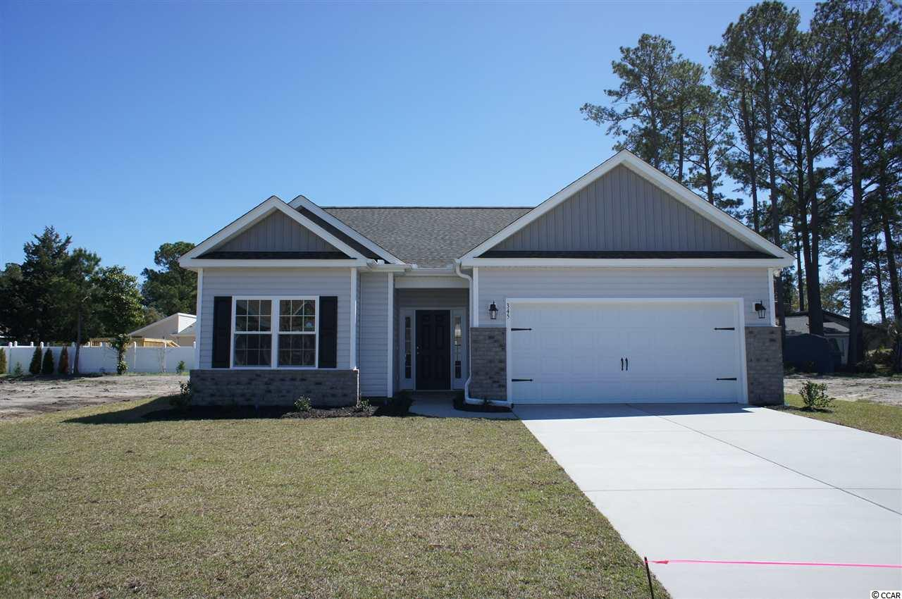 Beautiful Hatteras floor plan in the new Ocean Palms community. This terrific open floor plan, 3 bedroom, 2 full bath home will have hardwood flooring in the family room, kitchen and dining area, under the soaring vaulted ceiling, comfortable carpet in the bedrooms and tile in the baths and laundry room. Stainless appliances, staggered-height stained birch cabinetry, granite counters and a convenient breakfast bar combine to give you the wow factor you're looking for, and abundant recessed lighting plus two large windows in the adjacent dining area flood the room with light. A French door in the great room leads to the covered rear porch and the large separate patio beyond. The spacious master retreat features a long vanity, an oversized walk-in shower, plenty of storage in the linen closet and a huge walk-in closet, plus a tray ceiling. Two additional bedrooms and a full bath are tucked off on their own hallway, for privacy. All of the homes in Ocean Palms come standard with the luxury of natural gas (tankless water heater, gas heat, and gas range). The two car garage is completely trimmed and painted, and a floored attic storage space is accessed by drop-down stairs. Ocean Palms is conveniently located near shopping, restaurants, schools and world class medical offices and hospitals, and only a short golf cart ride to Surfside Beach's gorgeous beach and the beautiful Atlantic Ocean. Other floor plans and inventory homes may be available, and CUSTOMIZATION OF FLOOR PLANS IS POSSIBLE!!! Community Pool and Cabana Coming Soon! Photos are of a completed, similar home and may have different features.