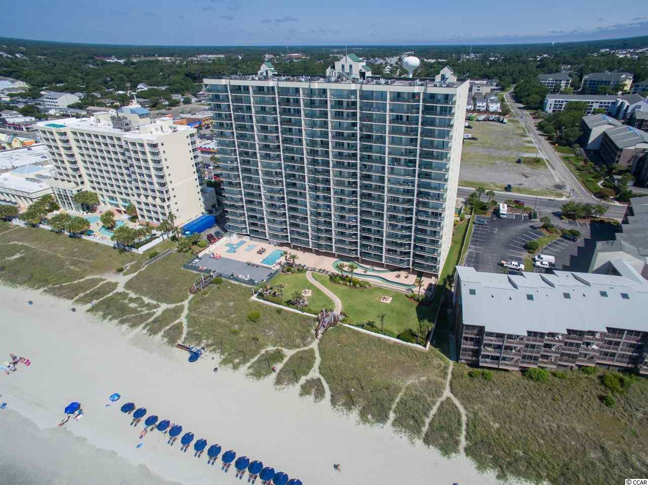 Oceanfront, 3 bedroom, 3 bathroom condominium in popular Drake building. Outdoor pool, heated under-building enclosed pool, lazy river, whirlpool spa, baby pool, exercise room, and on-site parking garage. Property is located on one of the few blocks zoned for condominiums between the low density single family zoning of Tilghman Estates and Main Street with its shag clubs, shops, restaurants, pavilion, and rides. Square footage and other information not guaranteed. Buyer responsible for verification.