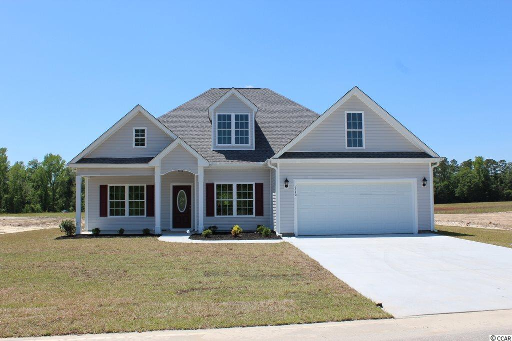 """Oak Grove is a new small community just off Hwy 378 in Conway. Large ½ acre lots, no HOA fee! This great Hemlock Alt plan has a low country covered front porch, 12'4x11'2 rear screened porch, and a 22'x10' patio. Very large living room with gas fireplace, vaulted ceiling with fan/lights and lots on windows. Upgraded vinyl plank flooring throughout the home, with carpet in the bedrooms. Dining room with tray ceiling is open to the kitchen. Custom built wood cabinets with knobs and crown molding, a farm sink, stainless steel appliances including a 36"""" gas range with a 36""""hood, granite breakfast counter/bar and pantry. Master bedroom suite has tray ceiling, ceiling fan, huge walk-in closet, double sinks, raised height vanity and a 5' walk-in shower. Rannai tankless water heater. Natural gas. Our homes are built with a minimum 9' smooth ceilings, 30 year architectural roof shingles, sodded yard includes irrigation system, fully finished and painted garages with automatic door opener and pull down stairs to attic storage plus gutters. Can park your RV or Boat at your house. Just 30 minutes away from Myrtle Beach and all the fun, food and entertainment you expect. Photos are for illustrative purposes only and may be of similar house built elsewhere. Square footage is approximate and not guaranteed. Buyer is responsible for verification."""