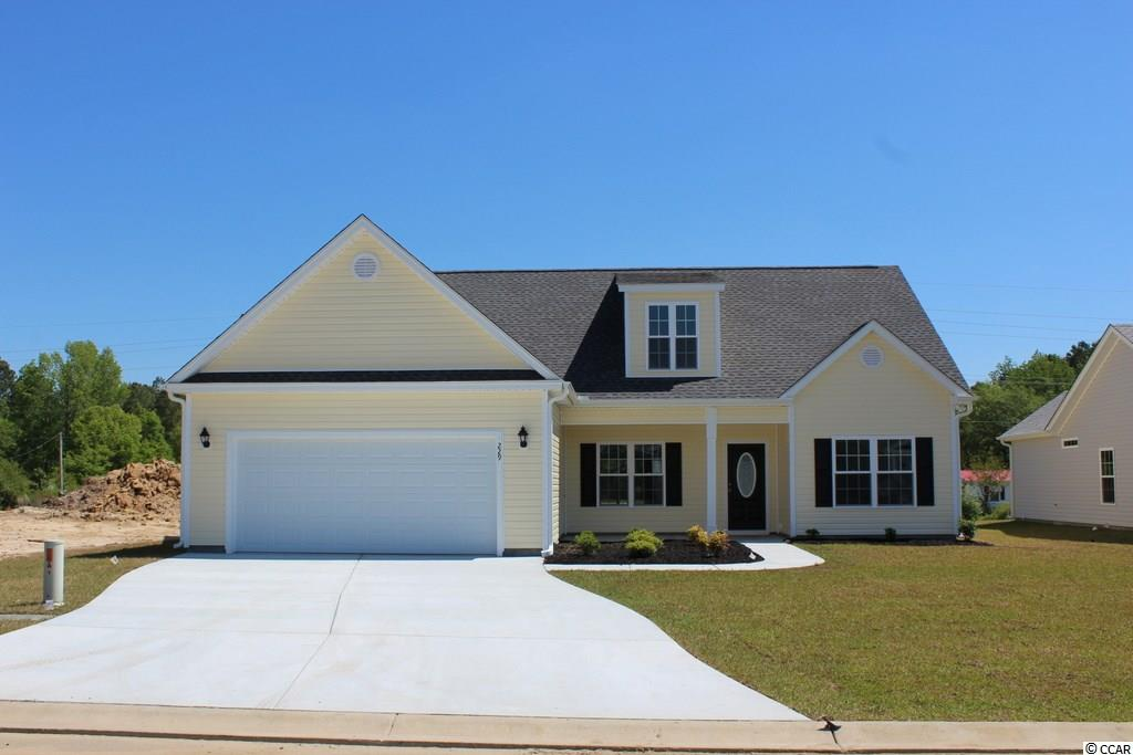 Woodland II. Affordable 5 bedroom, 3 bath home with bonus room. Relaxing 16 ft. covered front porch, open floor plan, split bedrooms. Private first floor 17' x 12' master bedroom suite is on one side of the house, has 2 walk-in closets, linen closet, 2 sinks and a vanity area, private commode room, large walk-in shower. Two 11'x12' guest bedrooms on 1st floor. Kitchen has wrap around breakfast counter, solid wood cabinets with crown molding and knobs, and a pantry closet. Laundry room. Upstairs are 2 bedrooms, a bath, and a 17'6 x 12' bonus room. Bedroom 5 is 15'3 x 12'. Carpet in all bedrooms, stairs and bonus room, waterproof vinyl in foyer, living room, dining room, kitchen, laundry room, bathrooms and hall. Oversized 21' x 24' finished and painted 2 car garage with automatic door opener, pull down stairs to attic storage above. Irrigation system, gutters, mailbox, sodded and landscaped yard. Community pool. Award winning local builder. Aynor Schools. Less than 1 mile to Hwy 22, within 30 minutes of Myrtle Beach. Photo's and video are for illustrative purposes only and may be of a similar home built elsewhere. Square footage is approximate and not guaranteed. Buyer is responsible for verification.