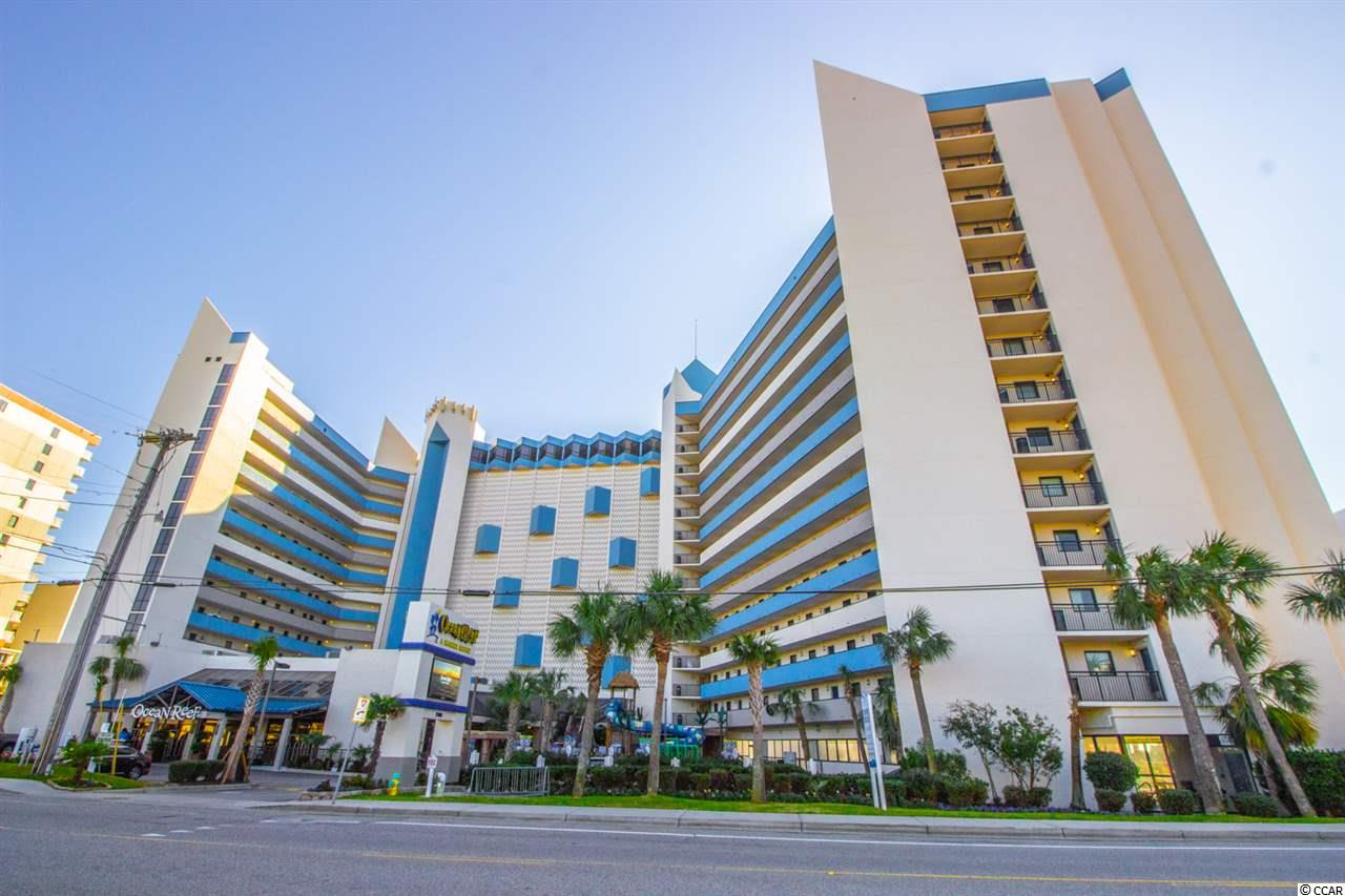 Great layout, true 1BR 1BA Ocean View condo in the popular Ocean Reef Resort, convenient 3rd floor location to zip down to the amenities. Located on 71st Ave N, on the northern end of Myrtle Beach, minutes from everything the area has to offer, but not in the middle of downtown craziness. Spacious kitchen with granite counter tops, a washer/dryer(also rare for most 1BR's), and brand new HVAC system. Resort amenities include a host of indoor and outdoor pools, lazy river, adult sized water slides, fitness center, conference rooms, ocean front restaurant and beach bar, all onsite! The HOA/condo fees cover just about everything, insurance(for the building and condo interiors),electric, water, cable, internet, parking, upkeep with the buildings, grounds, pools. Check out the rental income totals, this can be a great money maker for you.