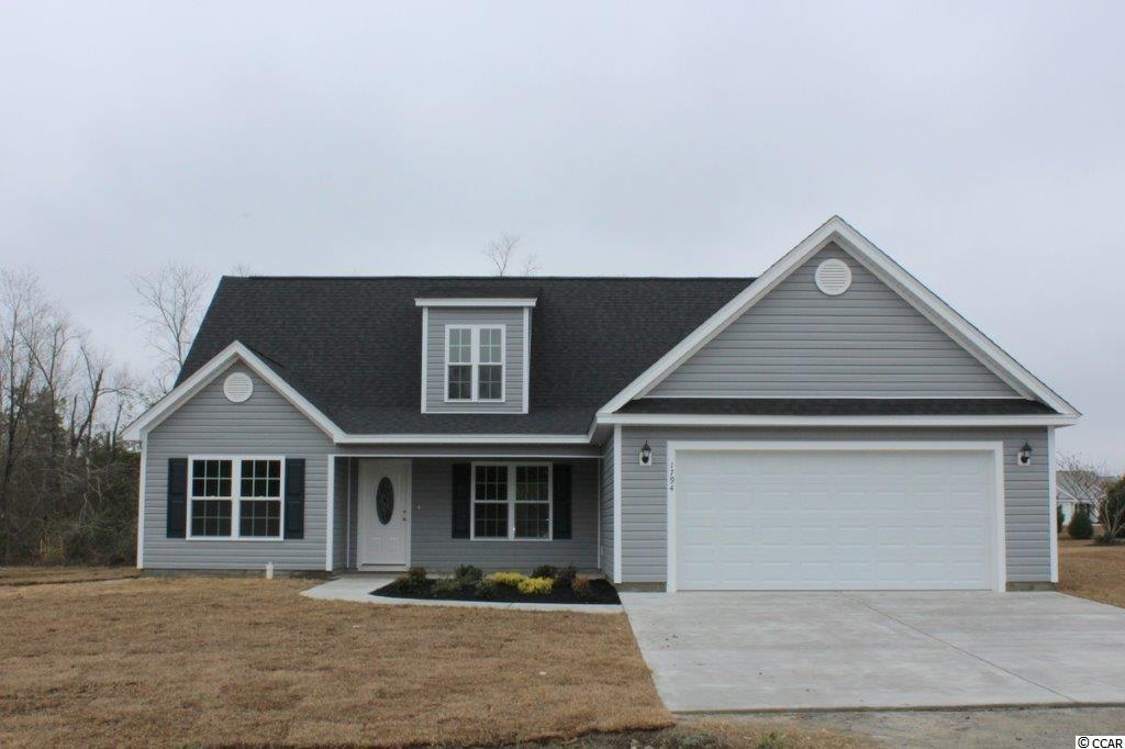 River's Run is a new small community just off Hwy 501 and Four Mile Road in Conway. Large ½+ acre lots. No HOA fee, basic CC&R's. Our floor plans are open, single level 3 and 4 bedroom plans and one 2-story 5 bedroom plan. This Woodland II plan has a low country covered porch, large living room with ceiling fan/light, dining area, open floor plan. Two floors of living space features master and 2 additional bedrooms on level 1, level 2 has bonus room, 2 additional bedrooms and full bath. Kitchen has custom built wood cabinets with knobs and crown molding, stainless steel appliances, breakfast counter/bar and pantry. 17'x12' master bedroom suite has ceiling fan/light, 2 walk-in closets, double sinks, raised height vanity and a 5' walk-in shower. Bedroom 4 is 11'x12'. Rear patio. Our homes are built with a minimum 9' smooth ceilings, 30 year architectural roof shingles, gutters, landscaped yard with irrigation system included. Fully finished and painted garages with automatic door opener and pull down stairs to attic storage. Can park your RV or boat at your house. Just 30 minutes away from Myrtle Beach and all the fun, food and entertainment you expect! Photos and video are for illustrative purposes only and may be of similar house built elsewhere. Square footage is approximate and not guaranteed. Buyer is responsible for verification.