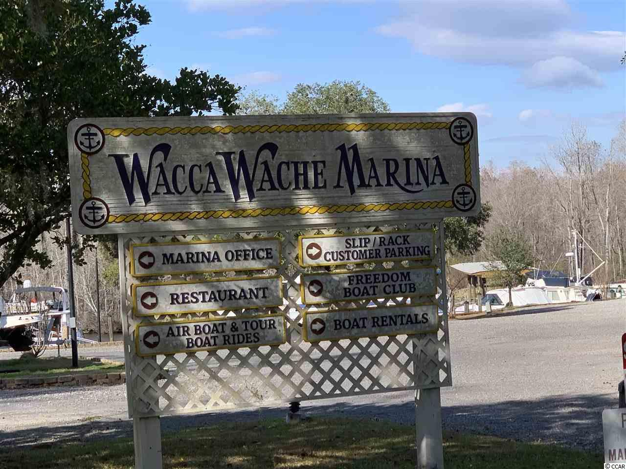Prime boat slip just off Waccamaw River/ Inter-coastal Waterway. 62 ft in length. Marine slip fee includes electrical and water/ sewer.Public boat landing next to marina.