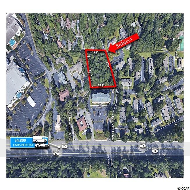 """Offered for Sale Approximately 1.06 +/- Acres in the Town of Briarcliffe.  Located between Myrtle Beach and North Myrtle Beach, Horry County, SC. This tract is situated behind the Fairfield Inn by Marriott and in close proximity to the Myrtle Beach Mall. Convenient access from North Kings Highway, Briarcliff Drive and Briarwood Drive. This Commercial Lot is perfect for Office Buildings, Medical Offices and Dental Offices, as well as other similar uses.   PROPERTY HIGHLIGHTS Approximately 1.06 +/- Acres Lot Dimensions Approximately 280' x 225' x  275"""" x 155"""" Approximately 270' of Frontage on Briarwood Drive Approximately 275' of Frontage on Briarcliff Drive Average Daily Traffic Count - 54,800 (Source: SCDOT 2018) US Hwy 17"""