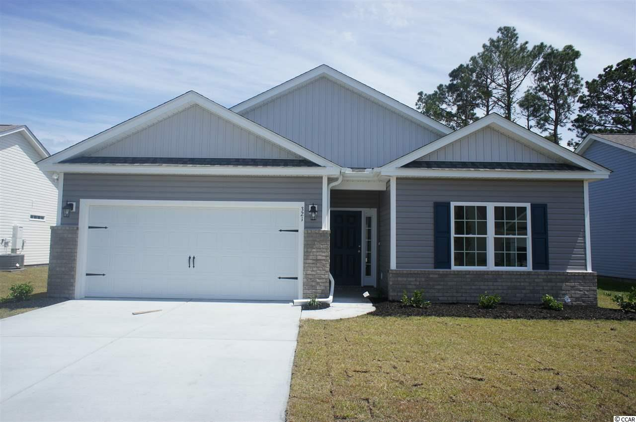 Beautiful Topsail floor plan in the new Ocean Palms community. This terrific open floor plan, 3 bedroom, 2 full bath home has waterproof wood-look flooring in the family room, kitchen and dining area, under the soaring vaulted ceiling, and comfortable carpet in the bedrooms. Stainless appliances, granite counters, white Shaker-style staggered-height stained birch cabinetry and a convenient breakfast bar combine to give you the wow factor you're looking for, and abundant recessed lighting plus two large windows in the adjacent dining area flood the room with light. A French door in the dining room leads to the covered rear porch and the large separate patio beyond. The spacious master retreat features a long vanity, an oversized walk-in shower, plenty of storage in the two huge walk-in closets, plus a tray ceiling. Two additional bedrooms and a full bath are tucked off on their own hallway, for privacy. All of the homes in Ocean Palms come standard with the luxury of natural gas (tankless water heater, gas heat, and gas range). The two car garage is completely trimmed and painted, and a floored attic storage space is accessed by drop-down stairs. Ocean Palms is conveniently located near shopping, restaurants, schools and world class medical offices and hospitals, and only a short golf cart ride to Surfside Beach's gorgeous beach and the beautiful Atlantic Ocean. Other floor plans and inventory homes may be available, and CUSTOMIZATION OF FLOOR PLANS IS POSSIBLE!!! Community Pool and Cabana Coming Soon! Photos are of a completed, similar home and may have different features.