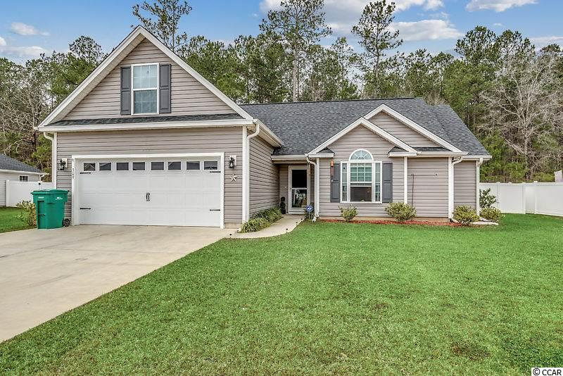 Fantastic home located in established Hampton Place off Hwy 378 in Conway. This 3 BR/ 2 BA home was built in 2017 and has been very well maintained. This home has much to offer: Granite counter tops throughout, tile floors in both bathrooms, the kitchen and laundry area. Laminate flooring in the great room, dining area, foyer and office. Carpet in the bedrooms and bonus room over the garage. Privacy fence in the backyard. Your can enjoy the fireplace from either the Great room or the Office. The Master Suite offers 3 closets, double sinks in the bath and a tile shower.