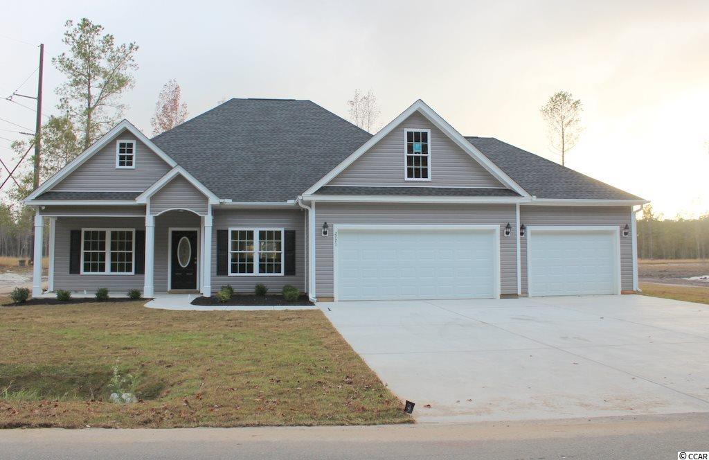 Pine Point is a new small community just off Cates Bay Road in Conway. Large 1/2 acre+ lots. 8 lots total. No HOA fees, basic CC&R's restrictions. This great Hemlock plan has a low country covered front porch and 14'8 x 11'2 rear screened porch, a 29'x10' patio, with electric for future hot tub. Large living room has vaulted ceiling with fan/light, and lots of windows. Formal dining room with tray ceiling. Kitchen has custom built wood cabinets with knobs and crown molding, stainless steel appliances, breakfast counter/bar, granite countertops and pantry. Master bedroom suite has tray ceiling, ceiling fan, huge walk-in closet, double sinks, raised height vanity, tile 5' walk-in shower and linen closet. Our homes are built with minimum 9' smooth ceilings, 30 yr architectural roof shingles, gutters, and landscaped yard - 16 pallets of sod with irrigation system, fully finished and painted garages with automatic door opener and pull down stairs to attics storage and an additional 14'x30' garage with service door. Electric for future pool. LVP flooring upgrade and the bedrooms have carpet. Comfort height toilets. You can park your RV or boat at your house! Just 30 minutes away from Myrtle Beach and all the fun, food and entertainment you expect. Photos and video are for illustrative purposes only and may be of similar home built elsewhere. Square footage is approximate and not guaranteed. Buyer is responsible for verification.
