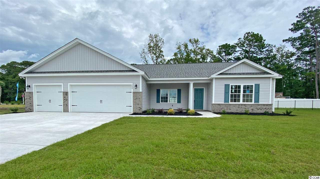 Beautiful custom ranch floor plan with a huge 3 car garage and a welcoming front porch in the new Ocean Palms community. This terrific open floor plan, 4 bedroom, 2 full bath home will have gray wood-look waterproof laminate flooring in the family room, kitchen and dining area, and comfortable carpet in the bedrooms. Stainless appliances, staggered-height gray Shaker-style cabinetry, marbled quartz counters and a convenient breakfast bar combine to give you the wow factor you're looking for, and the walk-in pantry is just across the hall.  Abundant LED lighting, a large window over the kitchen sink, plus a slider, to the patio, in the adjacent dining area flood the room with light. The spacious master retreat features a long vanity with double sinks, an oversized walk-in shower and a huge walk-in closet. Three additional bedrooms and a full bath are tucked off on their own hallway, for privacy. All of the homes in Ocean Palms come standard with the luxury of natural gas (tankless water heater, gas heat, and gas range). The three car garage is completely trimmed and painted, with pull-down stairs and a floored attic storage area, and there's an irrigation system, front and back. Ocean Palms is conveniently located near shopping, restaurants, schools and world class medical offices and hospitals, and only a short golf cart ride to Surfside Beach's gorgeous beach and the beautiful Atlantic Ocean. Other floor plans and inventory homes may be available, and CUSTOMIZATION OF FLOOR PLANS IS POSSIBLE!!! Community Pool and Cabana Coming Soon! This is a custom floor plan, so pictures will be of a different home until the house is substantially complete.
