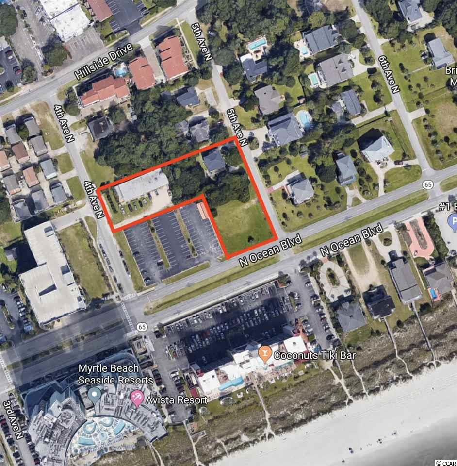 RARE development opportunity located in the Tilghman Beach section of North Myrtle Beach. Each lot is individually deeded and all are zoned R-4, multi family. Maximum building height is 90'.    The lot assemblage consist of 3 lots....the largest is a second row vacant lot that is 100x150 and situated directly across the street from the oceanfront.  The second lot is directly behind the first and consist of a duplex structure that has been recently renovated and is rented annually.  The last lot butts up to the second lot and has an older structure that consist of 20 units that are rented. The land is situated on 4th Ave and 5th Ave North as well as Ocean Blvd.