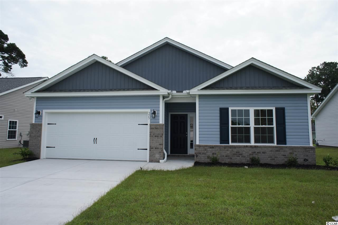 Beautiful Topsail floor plan in the new Ocean Palms community. This terrific open floor plan, 3 bedroom, 2 full bath home has wood-look vinyl flooring throughout home. Stainless appliances, granite counters, white Shaker-style staggered-height stained birch cabinetry and a convenient breakfast bar combine to give you the wow factor you're looking for, and abundant recessed lighting plus two large windows in the adjacent dining area flood the room with light. A French door in the dining room leads to the covered rear porch and the large separate patio beyond. The spacious master retreat features a long vanity, an oversized walk-in shower, plenty of storage in the two huge walk-in closets, plus a tray ceiling. Two additional bedrooms and a full bath are tucked off on their own hallway, for privacy. All of the homes in Ocean Palms come standard with the luxury of natural gas (tankless water heater, gas heat, and gas range). The two car garage is completely trimmed and painted, and a floored attic storage space is accessed by drop-down stairs. Ocean Palms is conveniently located near shopping, restaurants, schools and world class medical offices and hospitals, and only a short golf cart ride to Surfside Beach's gorgeous beach and the beautiful Atlantic Ocean. Other floor plans and inventory homes may be available, and CUSTOMIZATION OF FLOOR PLANS IS POSSIBLE!!! Community Pool and Cabana Coming Soon! Photos are of a completed, similar home and may have different features.