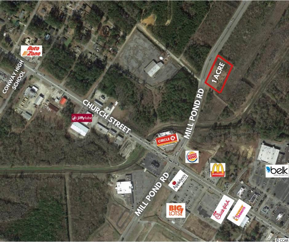 Amazing Opportunity in a Great Visible Location. Commercial Lot! 1 acre available in a Rapidly Growing area of Conway with Road Frontage on Mill Pond Road. Conway is growing both commercial and residential area with several new and upcoming communities and businesses underway.  Inside the city limits of Conway on Mill Pond Road, endless possibilities! This property is located close to downtown Conway, just between routes 701 and 501, for ideal traffic flow.