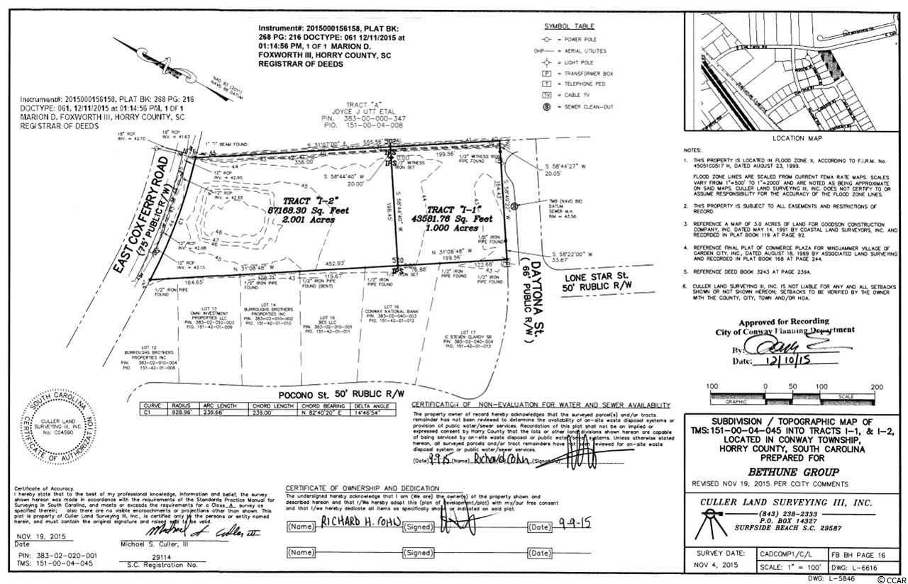 2 acre highway commercial/industrial property located in the Atlantic center. Road Frontage on East Cox Ferry Road. Owner is a SC Realtor. Measurements are approximate and not guaranteed. Buyer responsible for verification.
