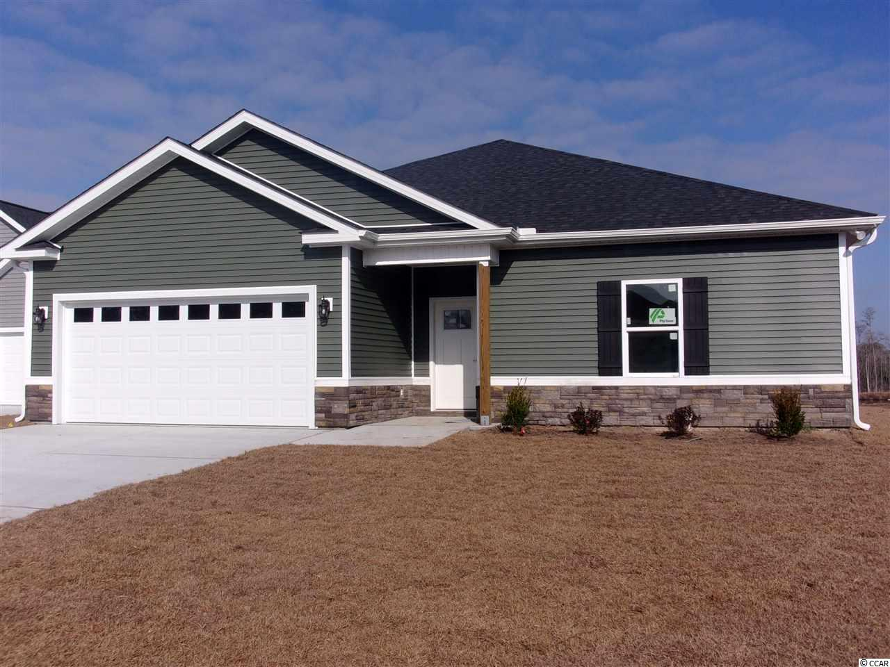 Don't miss out on this stunning New Construction pond view home in The Reserve @ Heritage Downs. This 3 Bedroom 2 bath includes a shiplap wall in the great room/living room. The kitchen comes with stainless steel appliances (Stove, Microwave, and Dishwasher) upgraded soft close cabinets with granite countertops, a gas range, large work island with a breakfast bar, and pantry for extra storage. The master suite includes double sink vanities a tile shower with bench and a large walk-in closet. Each bedroom includes a ceiling fan and plenty of closet space. Guest bathroom includes a Fiberglass tub with a tile wall. Other features include 9' ceilings on the first floor, an optional gas HVAC system, tankless gas water heater, WIFI thermostat, and much more. Yes! You can have a pool in your very own back yard.  Stop by the model home for more information and ask about the new community and other model homes, upgrades. Conveniently located to some of the finest dining, shopping, golf, beaches, schools, hospitals, and downtown Conway, Myrtle Beach, and North Myrtle Beach. GPS Long Leaf Drive - we will be the neighborhood on the left