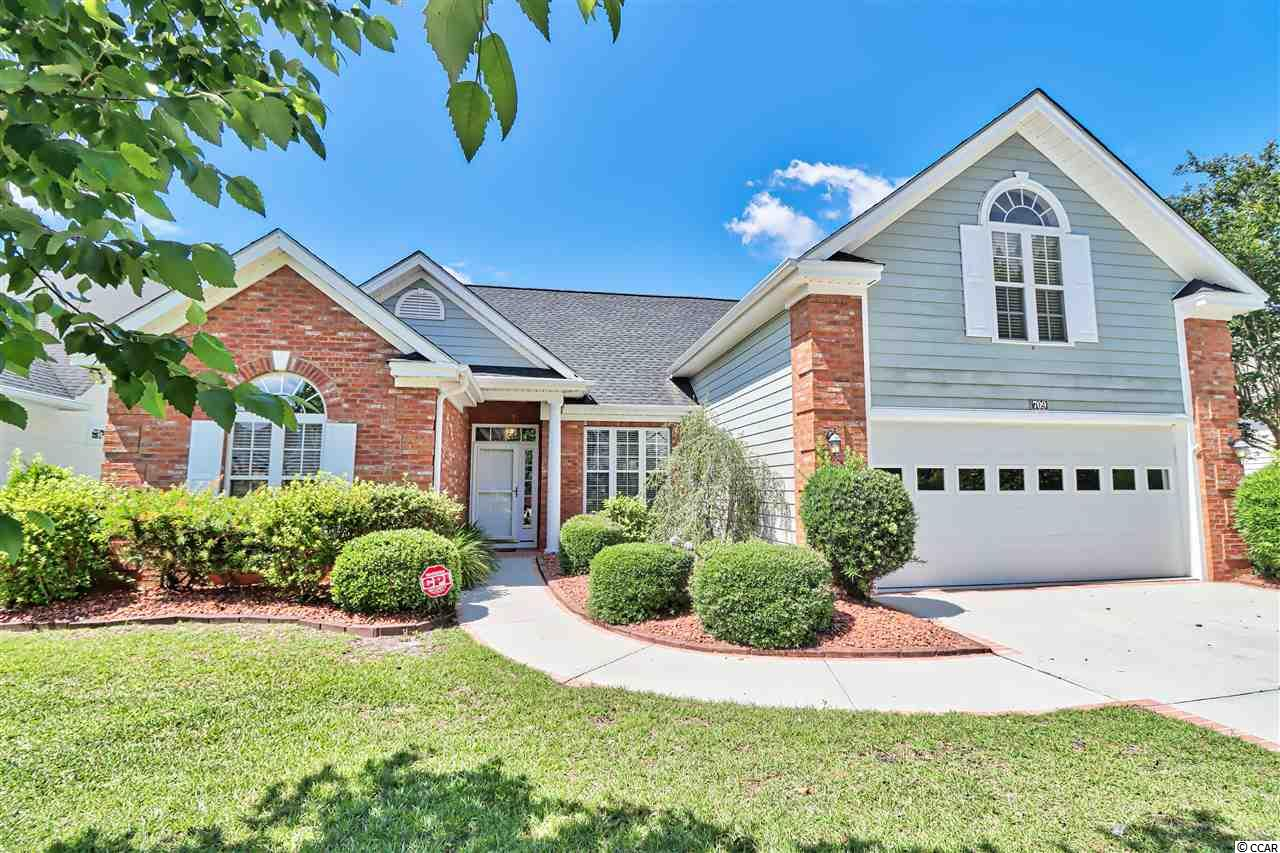 Charleston II model home with 3 bedrooms, 2 bath, large bonus room, 2 car garage in Myrtle Trace South an active 55 plus community.  Open the front door to the foyer with tile floor, then to your left is the 2nd and 3rd bedrooms with main bath between.