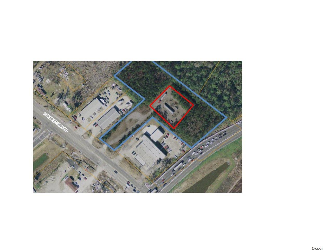 Fully fenced/barbed wire Limited Industrial Lot for Lease. Size is estimated to .6 of an acre. Perfect for boat/RV storage, transportation terminal facility, heavy equipment sales and service, lumber yard and many other suitable applications. At the intersection of Hwy 17 Bypass and Holmestown Road allowing easy access to the North and South parts of the Grandstrand.