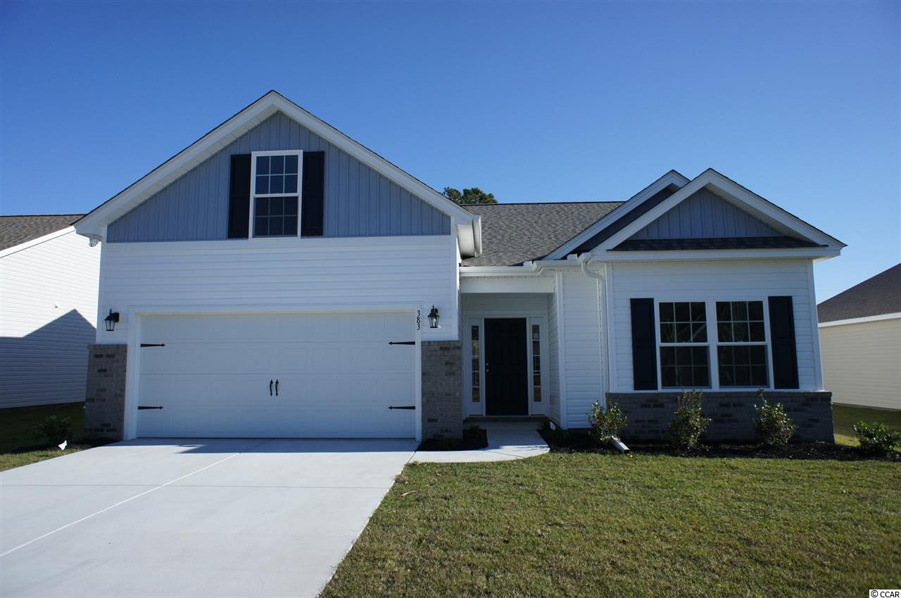 Beautiful Hatteras floor plan in the new Ocean Palms community, currently under construction. Purchase early and choose all of your own colors! This terrific open floor plan, 4 bedroom, 3 full bath home will have waterproof laminate flooring in the family room, kitchen and dining area, under the soaring vaulted ceiling, and comfortable carpet in the bedrooms. Stainless appliances, staggered-height Shaker-style painted cabinetry and a convenient breakfast bar combine to give you the wow factor you're looking for, and abundant recessed lighting plus two large windows in the adjacent dining area flood the room with light. A French door in the great room leads to the covered rear porch and the large separate patio beyond. The spacious master retreat features a long vanity, an oversized walk-in shower, plenty of storage in the linen closet and a huge walk-in closet, plus a tray ceiling. Two additional bedrooms and a full bath are tucked off on their own hallway, for privacy, with another bedroom and bath upstairs in the bonus room. All of the homes in Ocean Palms come standard with the luxury of natural gas (tankless water heater, gas heat, and gas range). The two car garage is completely trimmed and painted. Ocean Palms is conveniently located near shopping, restaurants, schools and world class medical offices and hospitals, and only a short golf cart ride to Surfside Beach's gorgeous beach and the beautiful Atlantic Ocean. Other floor plans and inventory homes may be available, and CUSTOMIZATION OF FLOOR PLANS IS POSSIBLE!!! Community Pool and Cabana Coming Soon! Photos are of a completed, similar home and may have different features.