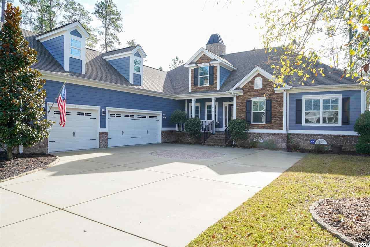 Welcome to Bellwood Landing! This gorgeous custom built low country style home sits on a large wooded lot in this quiet, gated subdivision in Prince Creek. The neighborhood is one of the few neighborhoods with mature trees. Enjoy the outdoors either on the large front porch, or on the back screen porch. As you enter the home through the foyer, there is a spacious formal dining room and an office/flex room.  The living room/great room is warm and inviting. The coffered ceiling and natural gas fireplace add to charm of this beautiful low-country home. The gourmet kitchen includes a wall oven and microwave combination and a natural gas cooktop. The breakfast nook allows ample space in the kitchen for a large table. The master suite has more than you could want, including double sinks, his and hers built-in closets, a walk in tile shower and a soaking tub. Completely private, and on the other side of the house there are two additional bedrooms, each with its own ensuite bath. Who wouldn't want to stay here! The laundry sits off the kitchen just beside an additional half bath. The oversized garage has enough space for three vehicles, a golf cart and also has extra storage closets and a spare refrigerator, which will convey with the sale. There is an enormous finished bonus room over the garage that could be used as a 4th bedroom, rec room, exercise room, etc. Energy efficient upgrades include 3M window film to keep the home cool and also provide hurricane protection. In addition, there is a tankless gas water heater for endless on-demand hot water. The home is located in Prince Creek, which is home to TPC, a 5-star championship golf course. Memberships to TPC Golf are available but not required. Nearby public boat ramp at Wacca Wache Marina. Close to  the beach, shopping, golf and the Murrells Inlet Marshwalk. And don't forget  to go see THE PARK (the 41 acre amenity complex on Wilderness Boulevard). Square footage is approximate and not guaranteed. Buyer is responsible for verification.