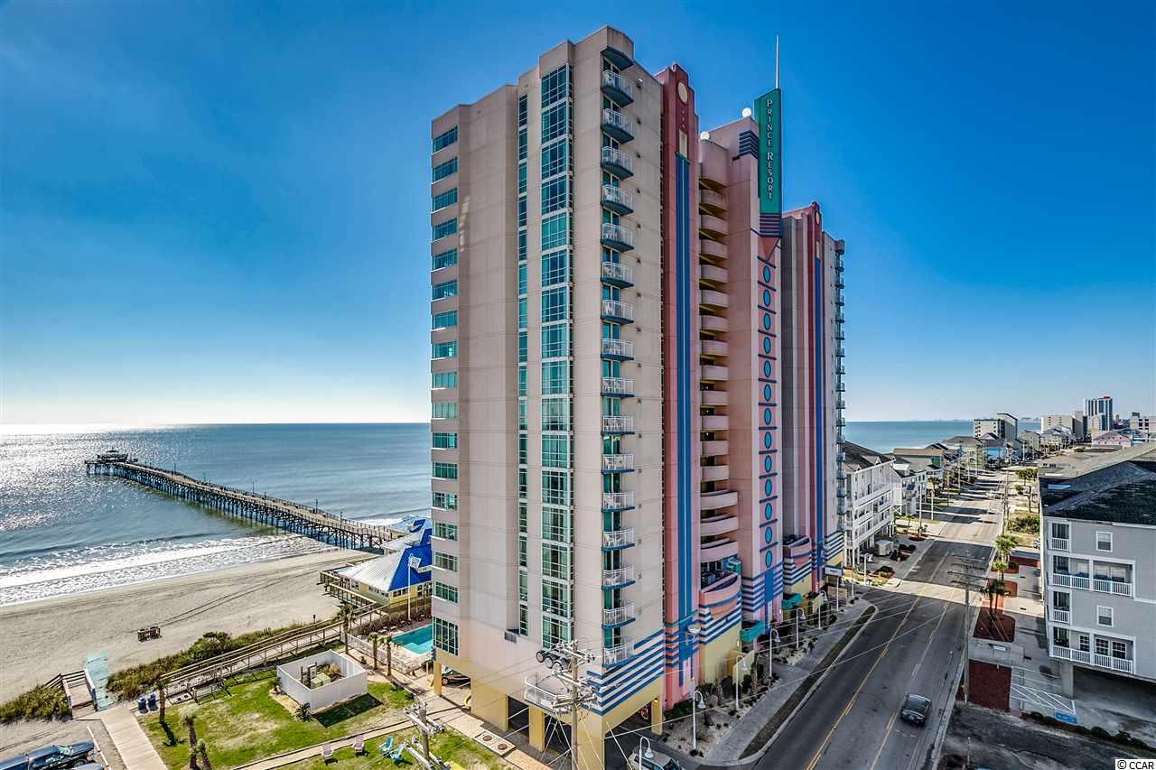 """Beautiful expansive ocean views along the Cherry Grove coastline towards North Myrtle Beach from this true 1BD/1BA condo in Prince Resort. Located on the ocean front, this end unit on the 11th floor additionally offers views of the Cherry Grove channels and marsh. Entering through a foyer, allows this condo a private bedroom. The main living area is open to the fully equipped kitchen featuring a range, microwave, dishwasher and refrigerator. The large bathroom has an oversize tub/shower. Tile in the wet areas and carpet elsewhere. The new HVAC unit allows the buyer peace of mind in the future. Great rental income for the investor or maybe just a second home/getaway spot!  Prince Resort was recently awarded Travelers' Choice Best of the Best in the category """"Best Family – United States"""", TripAdvisor's highest honor...making it part of an exclusive group, the top 1% of hotels worldwide.  Each year, TripAdvisor monitors reviews, ratings, and saves from travelers everywhere and uses that information to award the very best.  Let Prince Resort, #1101, be your paradise at the beach!"""
