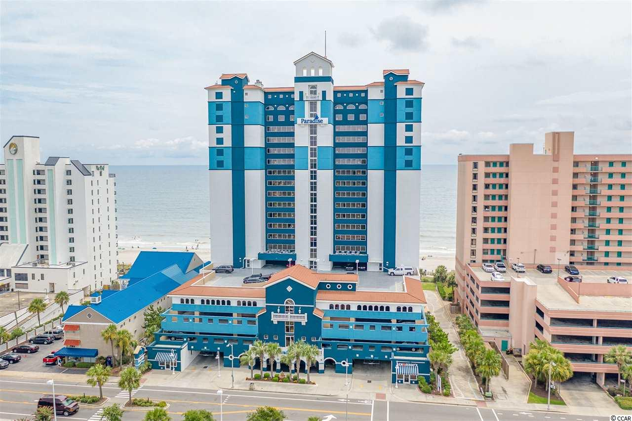 Take a look at this Penthouse floor oceanfront 1 bedroom condo at Paradise Resort!  This is a rare king suite that is super desirable!  Paradise is loaded with amenities, like indoor lazy river, indoor pool, hot tubs, outdoor pool, Ben and jerry's ice cream, and an oceanfront bar and grill.  Located close to market Common and the airport.  Low HOA includes ALL utilities and insurance!