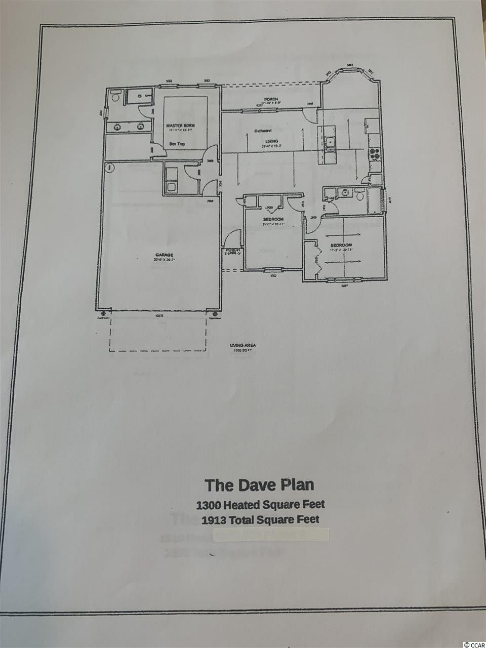 The Dave Floor Plan. This phase of Elmhurst includes natural gas, and this home will have a gas range, gas heat, and tanked hot water heater as part of the standard features. The Dave floor plan features an open kitchen, custom made cabinets with crown molding and knobs, stainless steel appliances, dinning area with bay window. A split bedroom floor plan, with spacious bedrooms,  a large master suite with tray ceiling, and an oversized  walk in closet. The master bath features a raised vanity with double sinks, and a large walk in shower. Foyer, with coat closet, a laundry room, and a covered rear porch( that can be screened) with patio. The Elmhurst subdivision is located in Central Conway, within minutes of historic downtown Conway and just 20 minutes to the beach. HOA restrictions are minimal, Boats and RVs will be allowed on certain lots. We have other floor plans, homes under construction available to walk through, and inventory homes available. Listing Agent available daily by appointment.