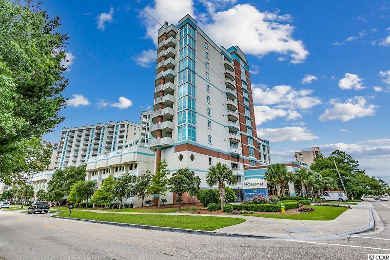 """Beautiful """"Deluxe"""" 1BR condo in The Horizon at 77th. Roomy floor plan with two side windows - one off the dining room table and one in the bedroom. The balcony offers an excellent view of the ocean over the treetops of the picturesque neighboring residential area. Equivalent of 12th floor elevation because of 4 level parking deck below residences. Perfect second home or vacation rental property. Interior features include granite counter-tops in the kitchen and baths, stainless steel kitchen appliances, stylish furnishings and a washer/dryer for your convenience. Building features include enclosed climate-controlled corridors, a 4-level parking garage beneath the residences (no walking across the street to your car), a roof top sun deck and a fitness room. There is also a full array of water amenities - indoor and outdoor pools, indoor and outdoor spas and an outdoor lazy river. The Horizon is located in an upscale area on the north end of the city of Myrtle Beach. It is within walking distance of numerous shops and literally dozens of restaurants. Barefoot Landing, Broadway at the Beach, Restaurant Row and the Myrtle Beach Boardwalk are all within a 15 minute drive.The HOA fee covers unit electric, water/sewer, cable TV, internet, building insurance, phone, all exterior upkeep and reserves. All information is deemed correct, but it is the responsibility of the buyers and their agent to verify all information"""