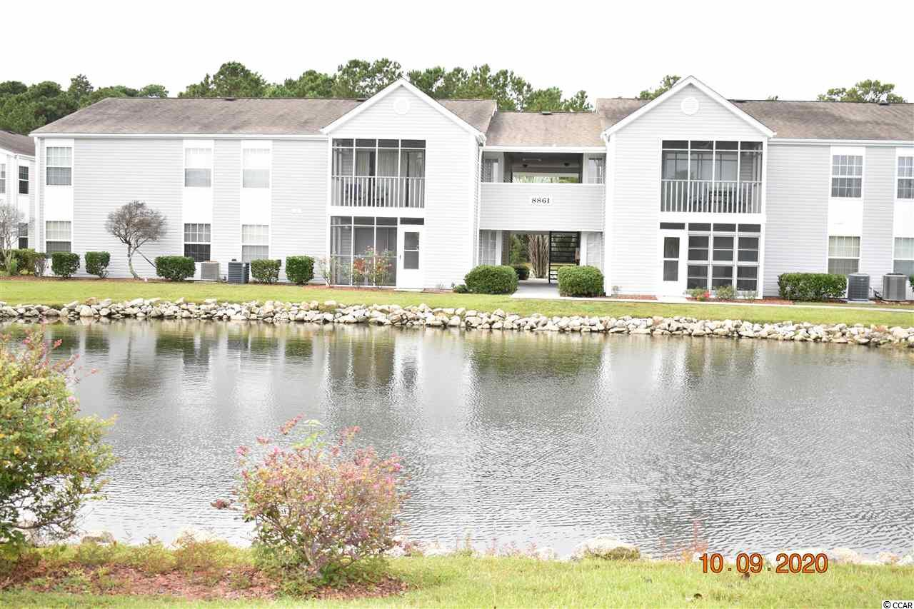 This 3 bedroom 2 full bath condo has an open floor plan with a walk out to the screened in porch which overlooks the lake. This home features an open kitchen dining area, and a separate laundry area, The master bedroom is large with a master bath attached. You can enjoy 2 pools in the development which can be shared by all phases.  A great location with a  short ride to the beach.  You can enjoy Market Common, Brookgreen Gardens, and the famous Marshwalk all within close proximity to South Bay Lakes.  Close to shopping, dining, golf, and of course the Atlantic Ocean.