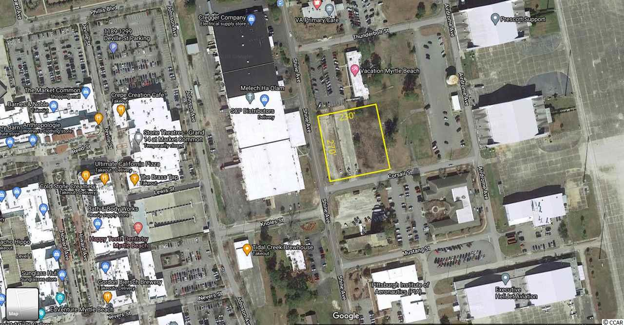 For Sale:  1.42 acre commercial/industrial lot located within the Market Common District at the corner of Shine Ave and Corsair St near Myrtle Beach International Airport.  Site is within walking distance to shops, dining, entertainment, and high density residential at The Market Common.  Shine Ave connects to Farrow Pkwy, a 4-lane divided parkway that connects Hwy 17 Bypass to Hwy 17 Business/Kings Hwy & Ocean Blvd.  Approx. 270' frontage on Shine Ave and approx. 230' frontage on Corsair St.  Site is cleared and has multiple points of ingress/egress.  LM (Light Manufacturing zoning) allows for multiple uses including retail, consumer services & public services, light industrial, healthcare/medical, education, storage (conditional use), wholesale businesses, etc.  Avg Daily Traffic on Farrow Pkwy is 18,500.